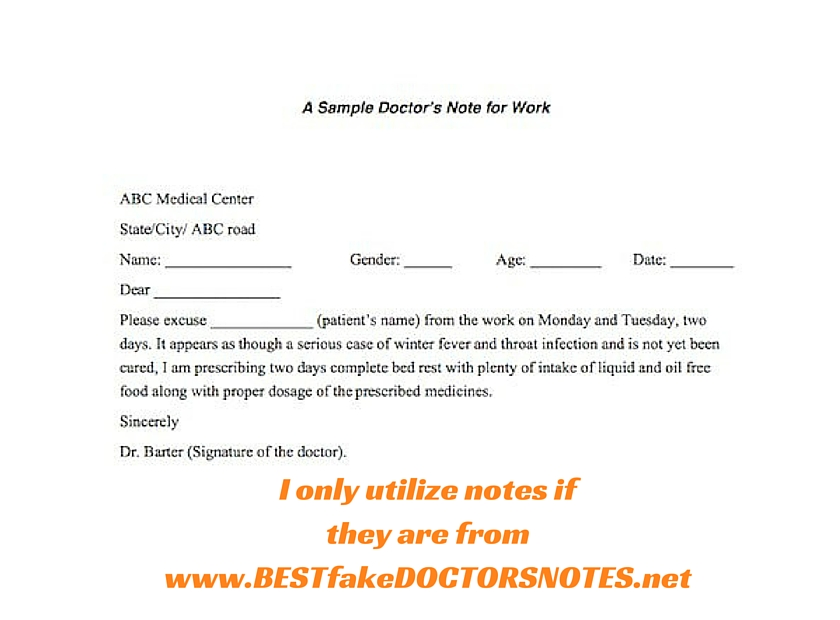 Doctors Note Templates  Hloomcom
